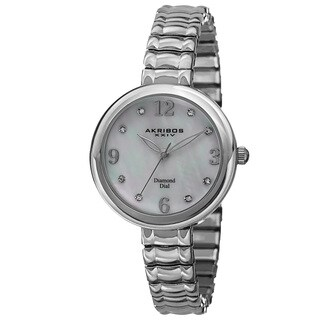 Akribos XXIV Women's Quartz Diamond Markers Expandable Silver-Tone Bracelet Watch with FREE Bangle