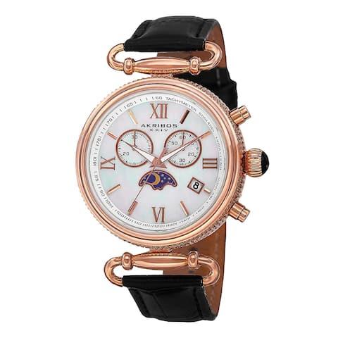 Akribos XXIV Women's Swiss Quartz Chronograph Leather Black Strap Watch