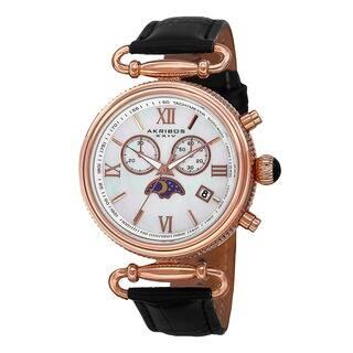 Akribos XXIV Women's Swiss Quartz Chronograph Leather Black Strap Watch with FREE GIFT|https://ak1.ostkcdn.com/images/products/9600200/P16785450.jpg?impolicy=medium