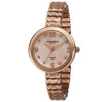 Akribos XXIV Women's Quartz Diamond Markers Expandable Rose-Tone Bracelet Watch