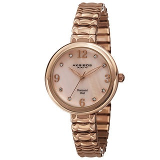 Akribos XXIV Women's Quartz Diamond Markers Expandable Rose-Tone Bracelet Watch with FREE Bangle