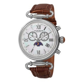 Akribos XXIV Women's Swiss Quartz Chronograph Leather Brown Strap Watch with GIFT BOX
