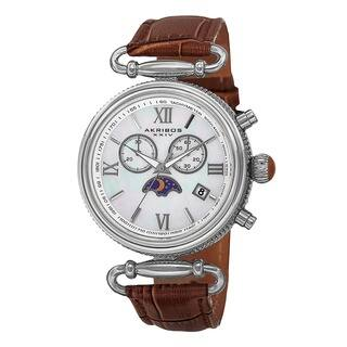 Akribos XXIV Women's Swiss Quartz Chronograph Leather Brown Strap Watch with FREE GIFT|https://ak1.ostkcdn.com/images/products/9600203/P16785452.jpg?impolicy=medium