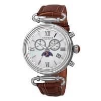 Akribos XXIV Women's Swiss Quartz Chronograph Leather Brown Strap Watch