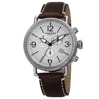 Akribos XXIV Men's Swiss Quartz Chronograph Leather Silver-Tone Strap Watch with FREE GIFT