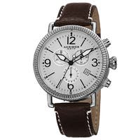 Akribos XXIV Men's Swiss Quartz Chronograph Leather Silver-Tone Strap Watch