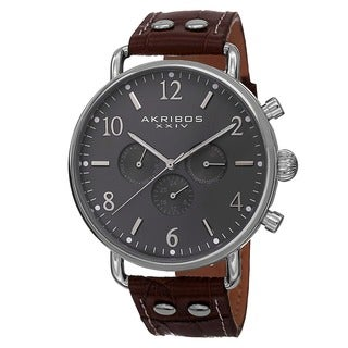 Akribos XXIV Men's Swiss Quartz Multifunction Leather Silver-Tone Strap Watch