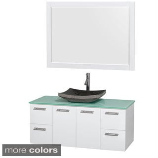 Wyndham Collection Amare 48-inch Glossy White/ Green Glass Single Vanity with 46-inch Mirror