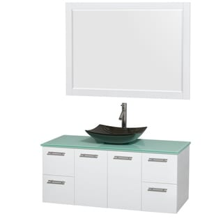 Wyndham Collection Amare 48-inch Glossy White/ Green Glass Single Vanity with 46-inch Mirror and Glossy Sink