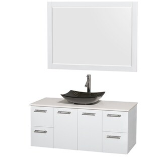 Wyndham Collection Amare 48-inch Glossy White/ White Stone Single Vanity with 46-inch Mirror and Glossy Sink