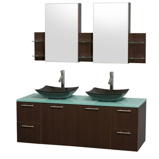 Wyndham Collection Amare 60-inch Espresso/ Green Glass Double Vanity with Medicine Cabinet