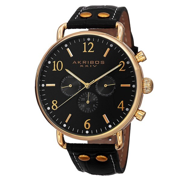 Akribos XXIV Men's Swiss Quartz Multifunction Leather Gold-Tone Strap Watch