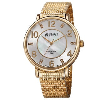 August Steiner Men's Ultra-Thin Swiss Quartz Mother of Pearl Diamond Dial Gold-Tone Bracelet Watch