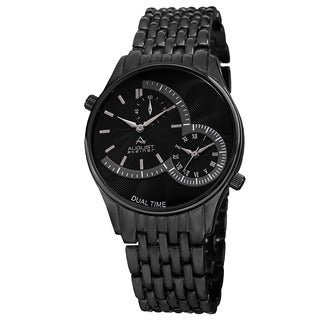 August Steiner Men's Swiss Quartz Dual Time Black Bracelet Watch