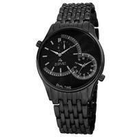 August Steiner Men's Swiss Quartz Dual Time Black Bracelet Watch