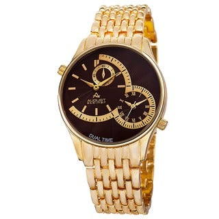 August Steiner Men's Swiss Quartz Dual Time Brown Bracelet Watch
