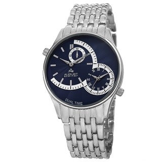 August Steiner Men's Swiss Quartz Dual Time Blue Bracelet Watch