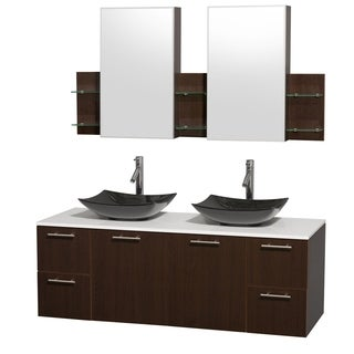 Wyndham Collection Amare 60-inch Espresso/ White Stone Double Vanity with Medicine Cabinet
