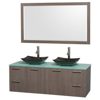 Wyndham Collection Amare 60-inch Grey Oak/ Green Glass Double Vanity with 58-inch Mirror