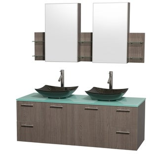 Wyndham Collection Amare 60-inch Grey Oak/ Green Glass Double Vanity with Medicine Cabinet