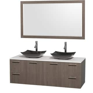 60 inch vanity with double sink. Wyndham Collection Amare 60 inch Grey Oak  White Stone Double Vanity with 58 Size Vanities 51 Inches Bathroom