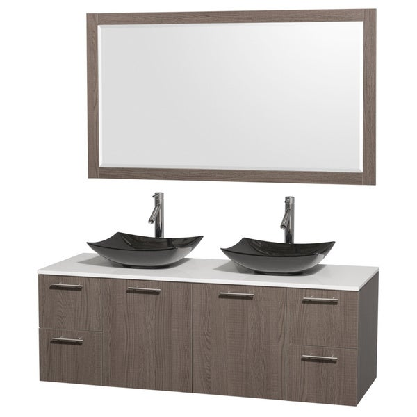 Wyndham Collection Amare 60-inch Grey Oak/ White Stone Double Vanity with 58-inch Mirror