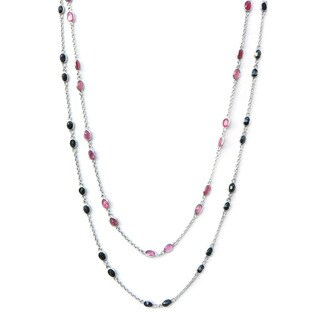 De Buman Sterling Silver Natural Ruby or Sapphire Necklace