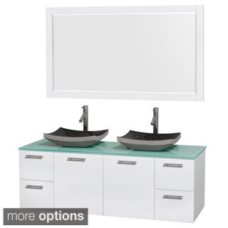 Wyndham Collection Amare 60-inch Glossy White/ Green Glass Double Vanity with 58-inch Mirror