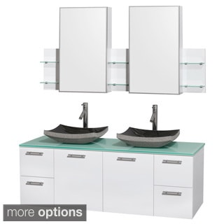 Wyndham Collection Amare 60-inch Glossy White/ Green Glass Double Vanity with Medicine Cabinet