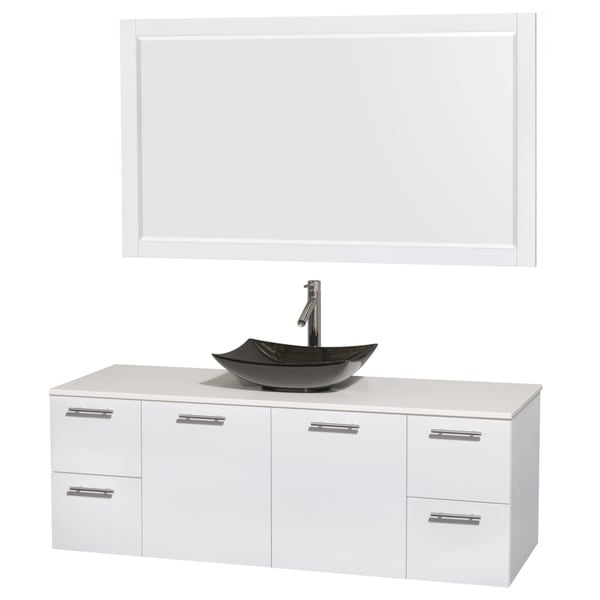 wyndham collection amare 60 inch glossy white white stone