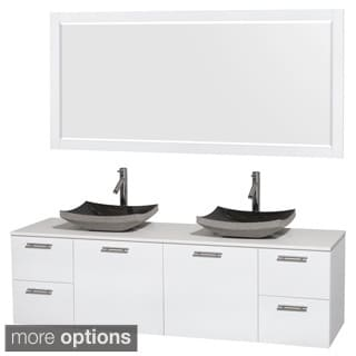 Wyndham Collection Amare 72-inch Glossy White/ White Stone Double Vanity with Mirror