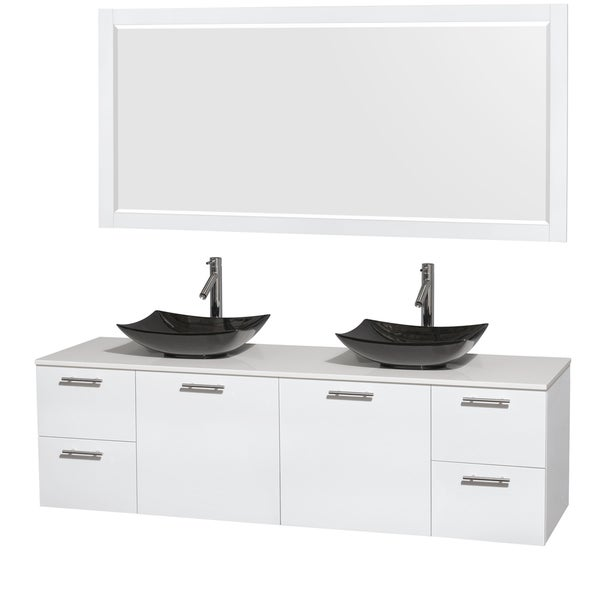 Wyndham Collection Amare 72-inch Glossy White/ White Stone Double Vanity with 70-inch Mirror