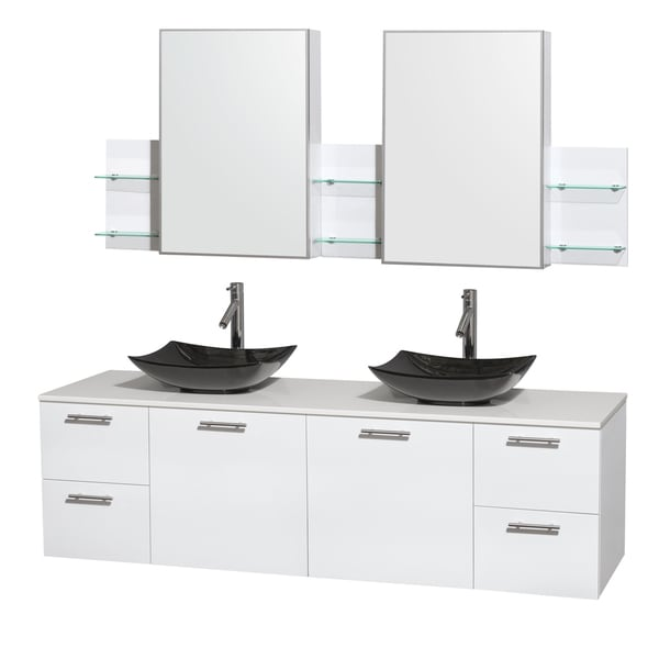 Wyndham Collection Amare 72-inch Glossy White/ White Stone Double Vanity with Medicine Cabinet and Glossy Sink