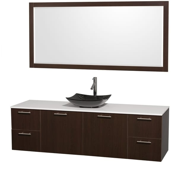 Wyndham Collection Amare 72-inch Espresso/ White Stone Single Vanity with 70-inch Mirror