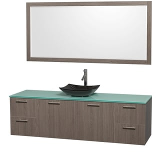 Wyndham Collection Amare 72-inch Grey Oak/ Green Glass Single Vanity with 70-inch Mirror