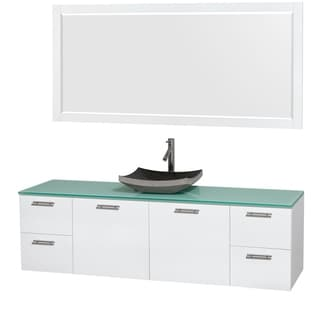 Wyndham Collection Amare 72-inch Glossy White/ Green Glass Single Vanity with Mirror
