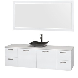 Wyndham Collection Amare 72-inch Glossy White/ White Stone Single Vanity with 70-inch Mirror