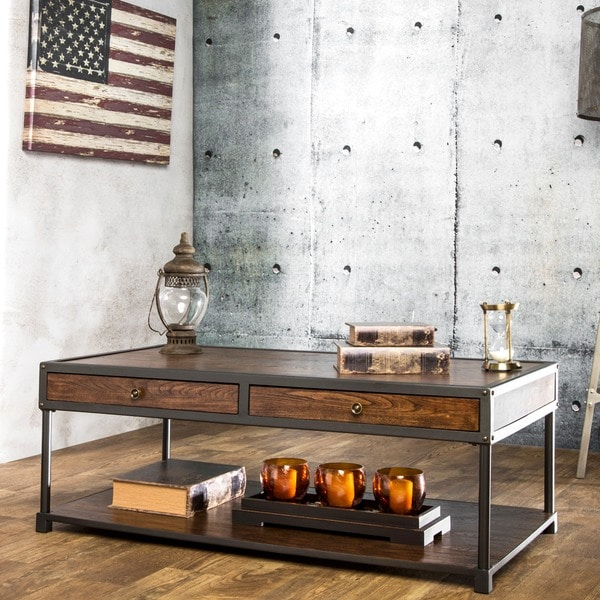 furniture of america thorne antique oak industrial coffee table