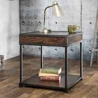 Furniture of America Thorne Antique Oak Industrial End Table