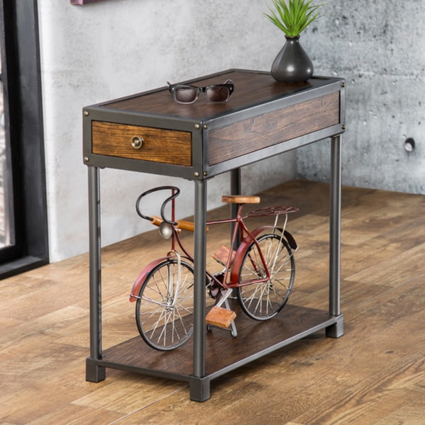 Furniture Of America Thornehold Antique Oak Industrial End Table Free Shipping Today