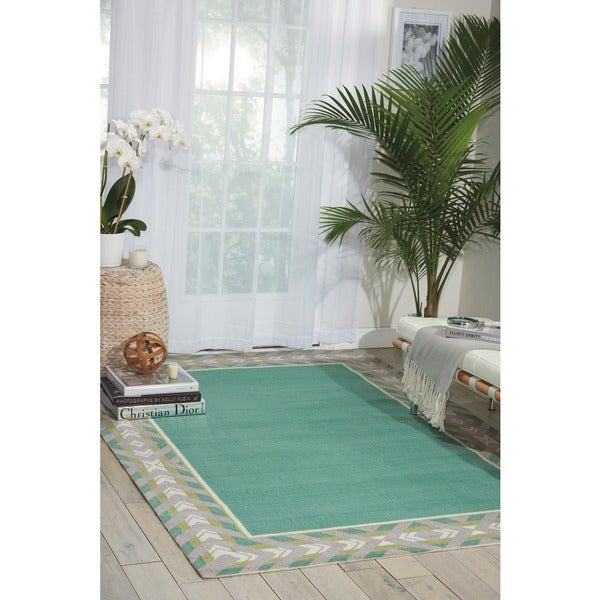 Waverly Sun N' Shade Full Of Zip Peacock Indoor/ Outdoor Area Rug by Nourison (10' x 13')