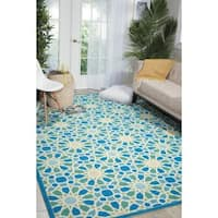 "Waverly Sun N' Shade Starry Eyed Porcelain Indoor/ Outdoor Area Rug by Nourison (7'9 x 10'10) - 7'9"" x 10'10"""