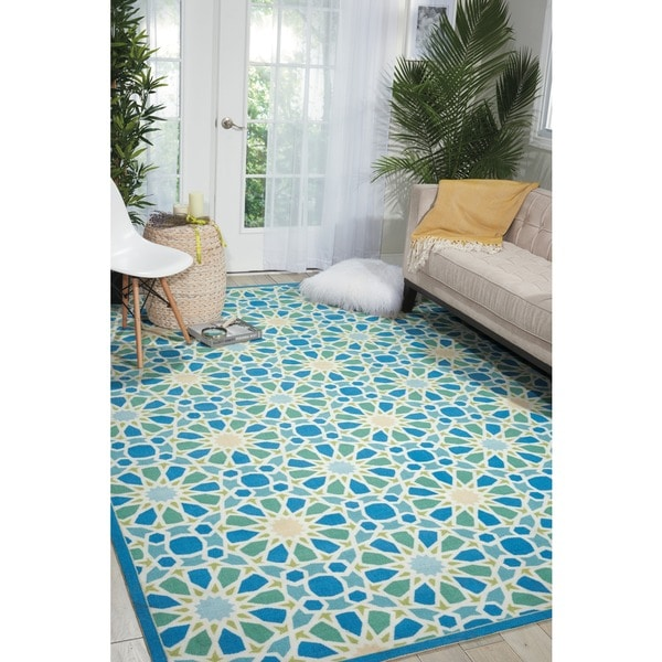 Waverly Sun N' Shade Starry Eyed Porcelain Indoor/ Outdoor Area Rug by Nourison (7'9 x 10'10)
