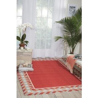 Waverly Sun N' Shade Full Of Zip Poppy Indoor/ Outdoor Area Rug by Nourison (5'3 x 7'5)
