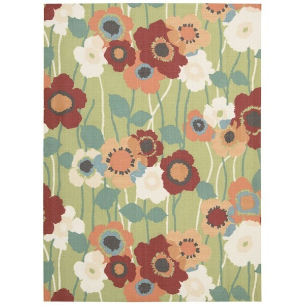 Waverly Sun N' Shade Seaglass Indoor/ Outdoor Rug by Nourison (7'9 x 10'10) - 7'9 x 10'10