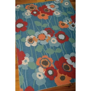 Waverly Sun N' Shade Bluebell Indoor/ Outdoor Rug by Nourison (5'3 x 7'5)