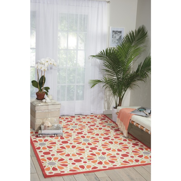 Waverly Sun N' Shade Starry Eyed Flamingo Indoor/ Outdoor Area Rug by Nourison (7'9 x 10'10) - 7'9 x 10'10