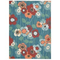 Waverly Sun N' Shade Bluebell Indoor/ Outdoor Rug by Nourison (7'9 x 10'10)