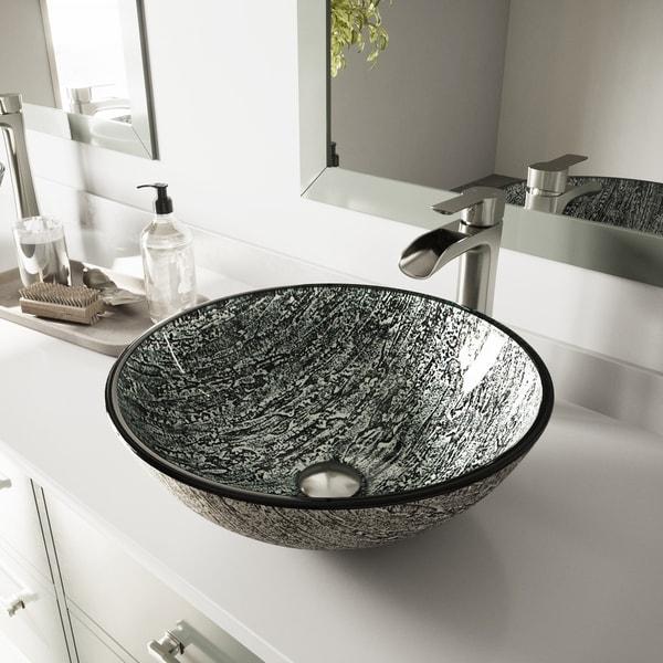 VIGO Titanium Glass Vessel Bathroom Sink