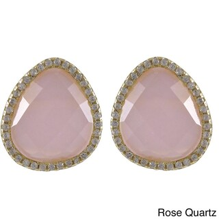 Luxiro Sterling Silver Gold Finish Faceted Gemstone and Cubic Zirconia Teardrop Halo Stud Earrings (Option: Rose Quartz)